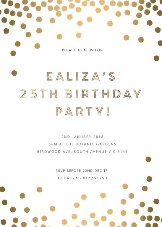 Golden Ball - birthday invitations