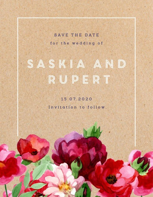 Rustic Red Flowers Save The Date - Save The Date
