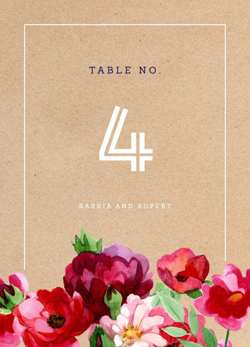 Rustic Red Flowers - Table Numbers