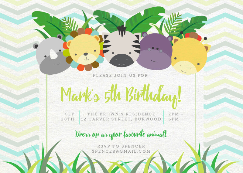 Mammals - Birthday Invitations
