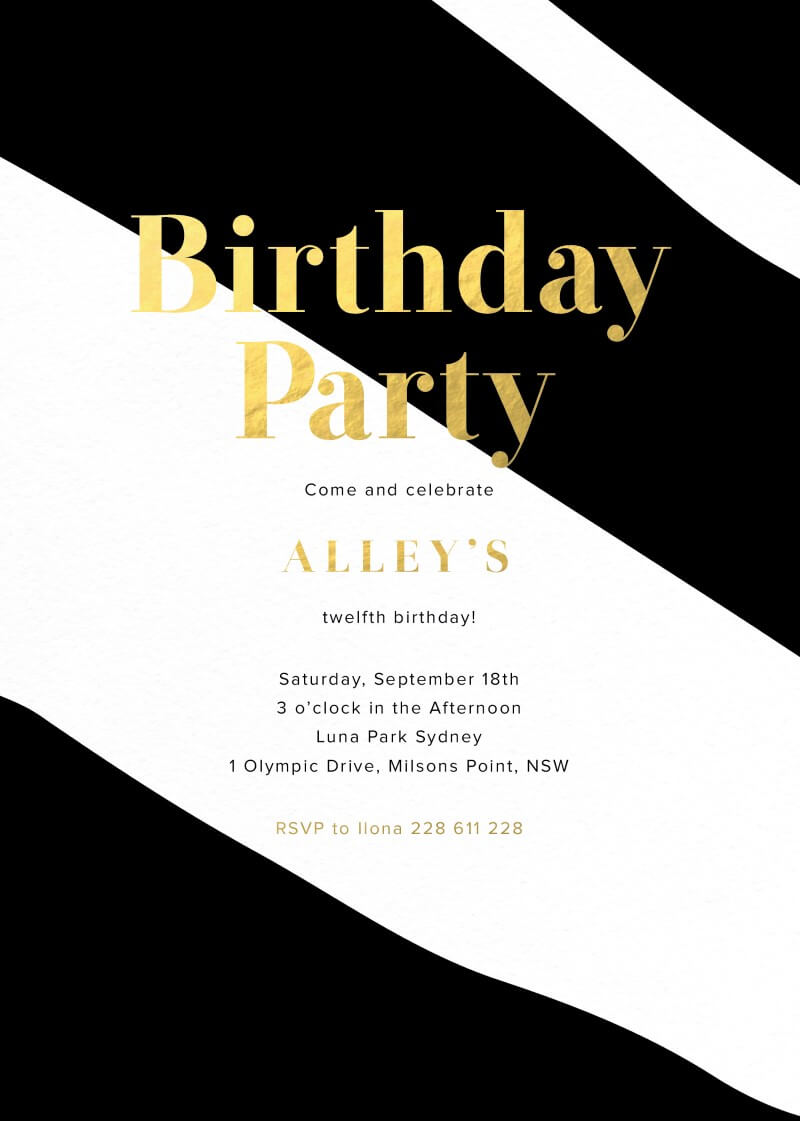 Straight and Wavy - Birthday Invitations