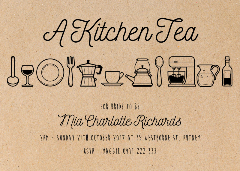 A Kitchen Tea - Bridal Shower Invitations