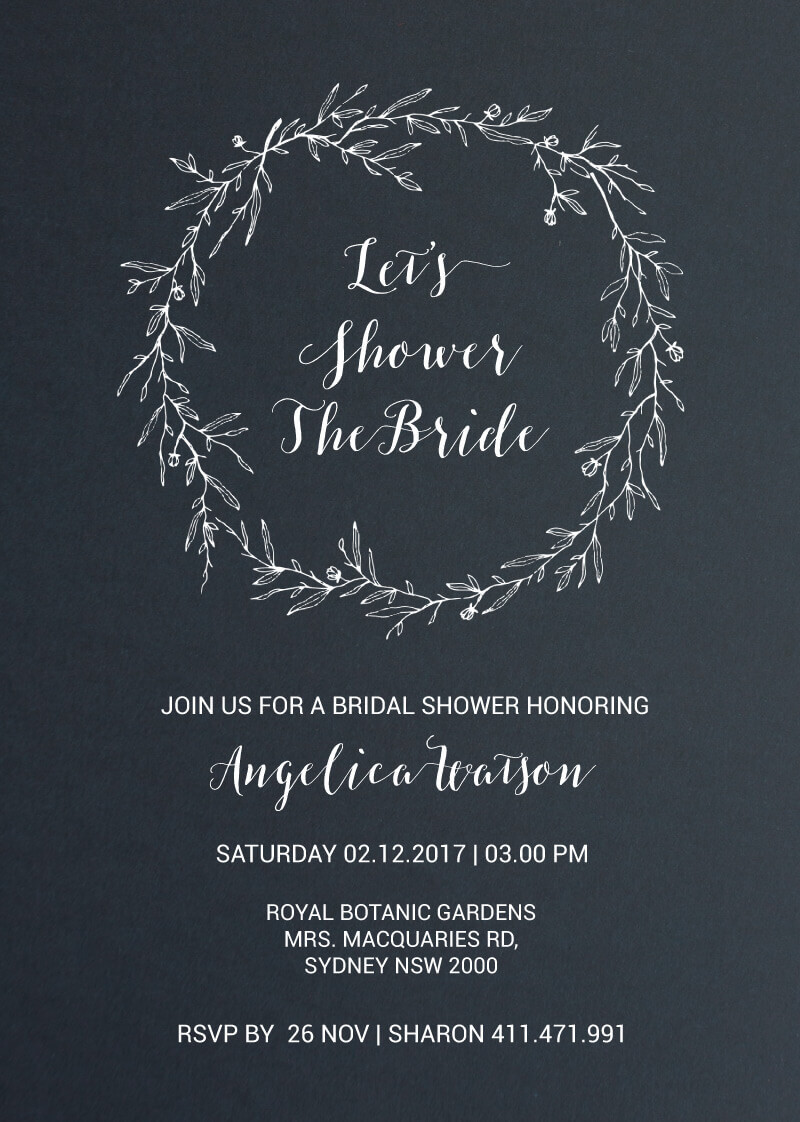 Minimal White Wreath - Bridal Shower Invitations