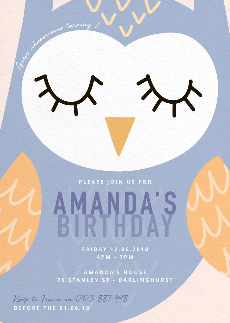 Guess whooooo - Birthday Invitations