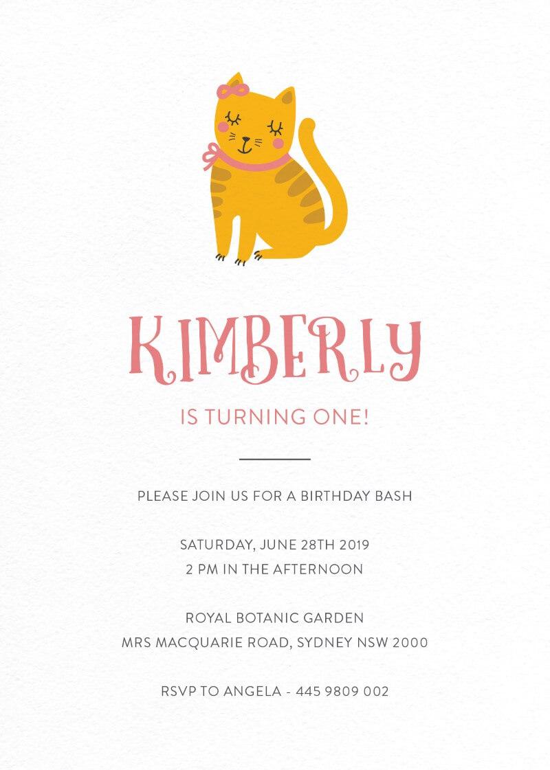 Cutie Cat - Birthday Invitations