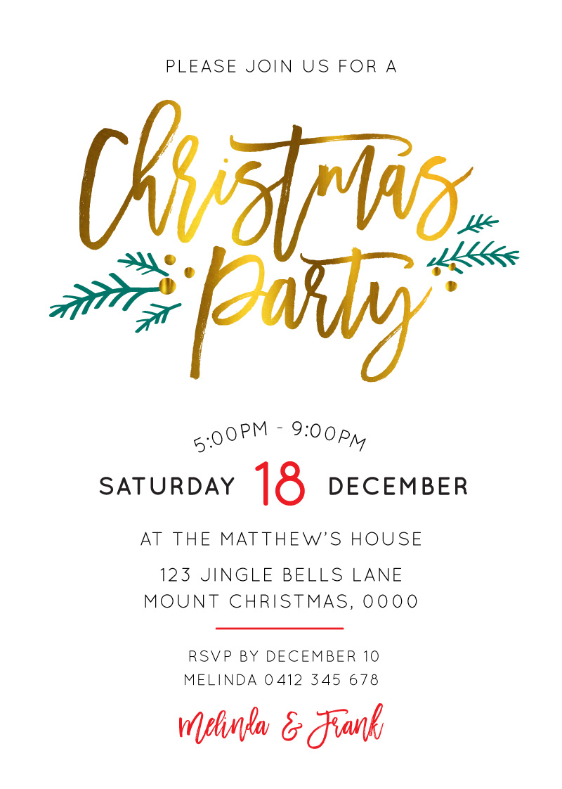 FESTIVE CHRISTMAS PARTY - Christmas Party Invitations