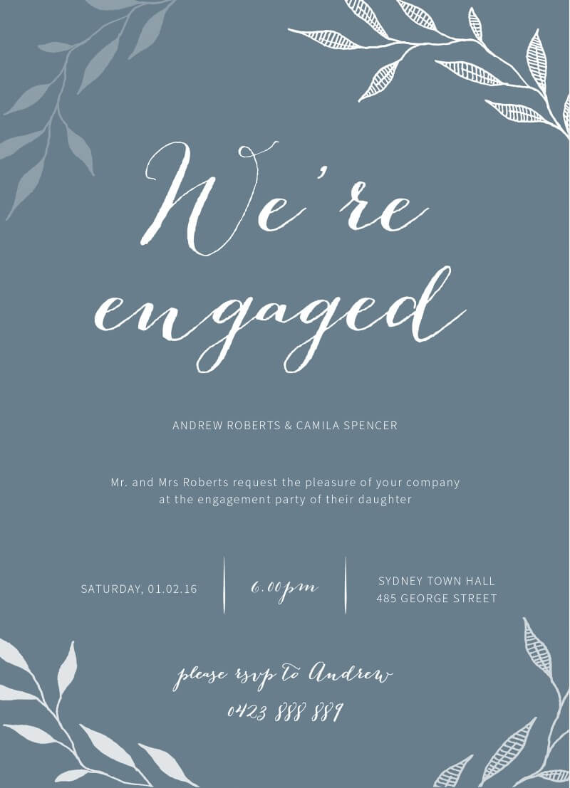 Leaves - Engagement Invitations
