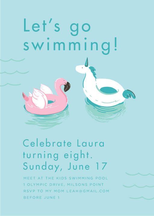 Pool Party Birthday - birthday invitations