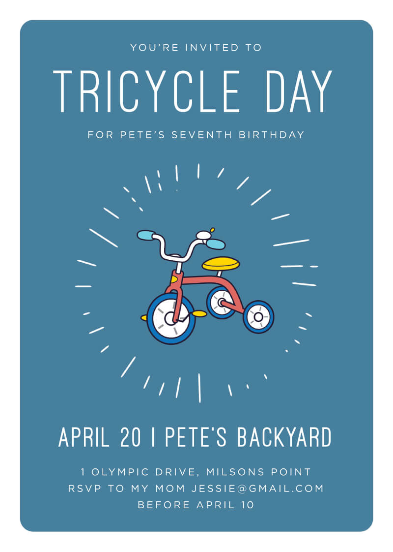 Bike Parade - Birthday Invitations