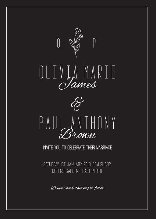 Simple Black Flowers Wedding Invitations - wedding invitations