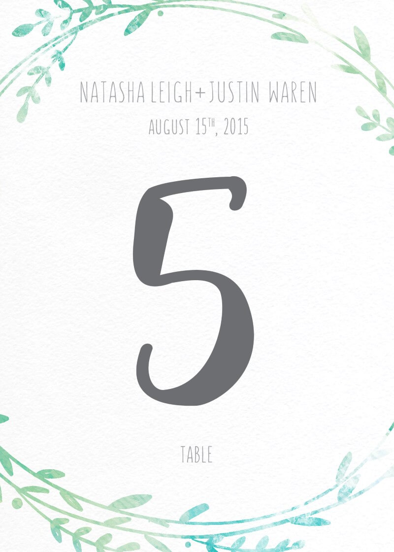 Leaf Wreath - Table Numbers