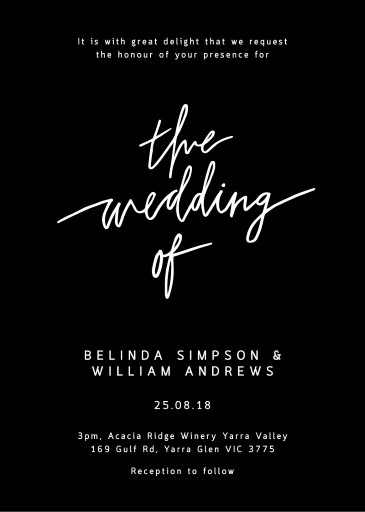 Hand drawn script Wedding Invitations - wedding invitations