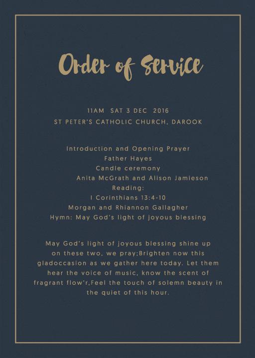 Foil Of Dreams - Order of Service