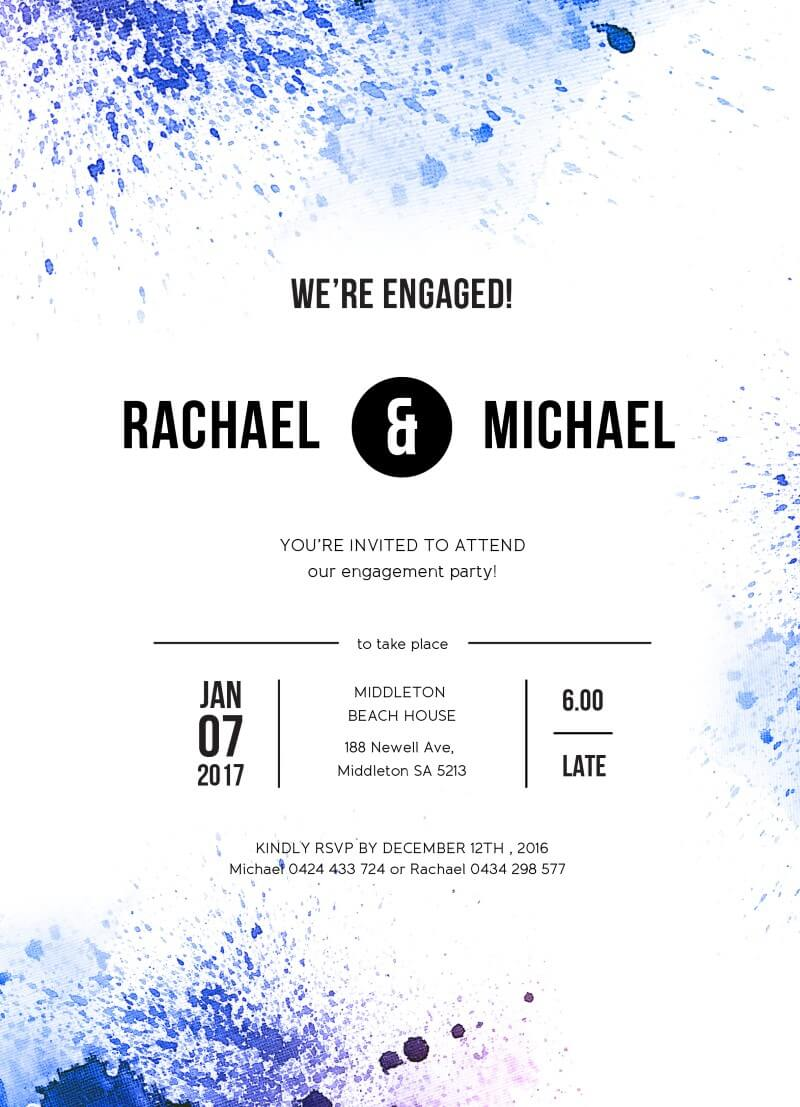 Watercolour splash - Engagement Invitations