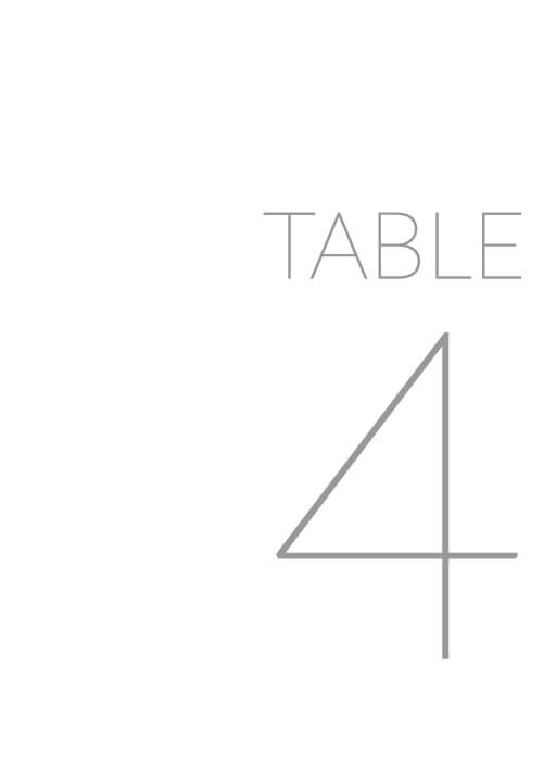 Narrow - table numbers