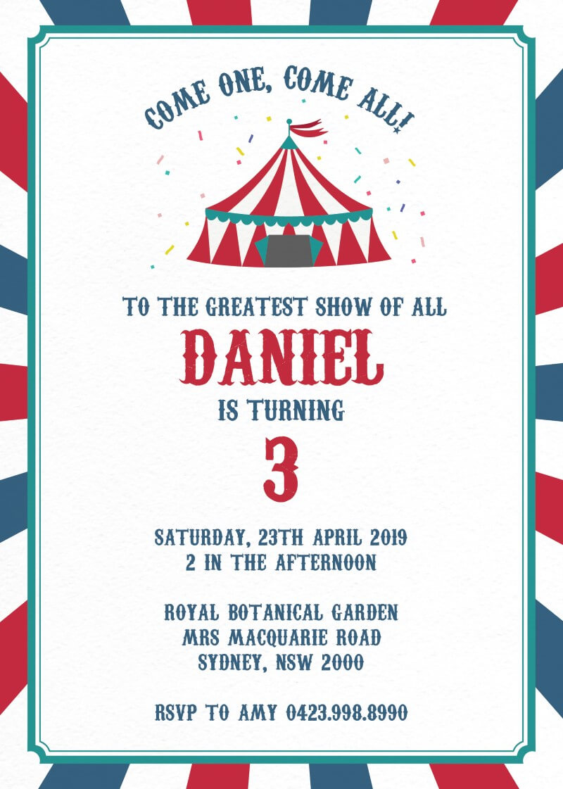 The Greatest Show - Birthday Invitations