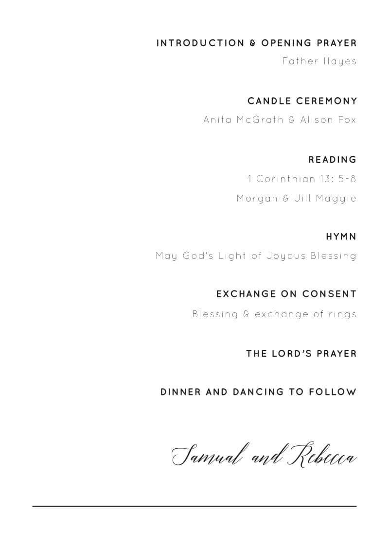 On the Day - Wedding Programs