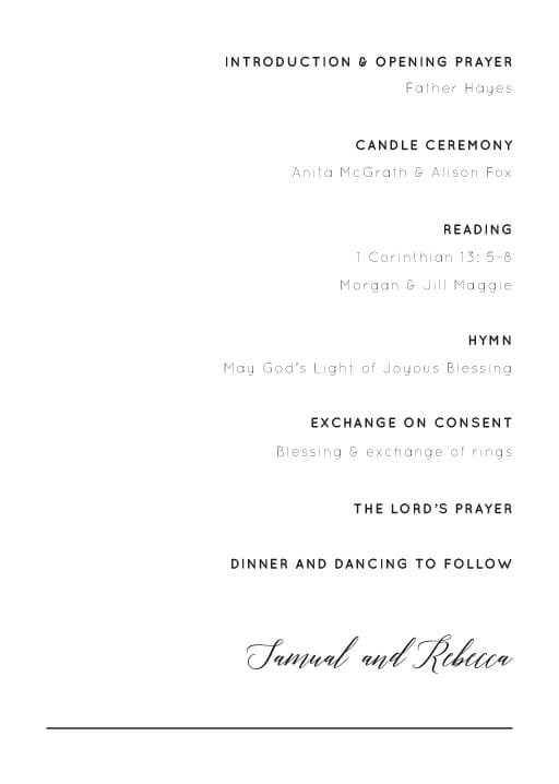 On the Day - Order of Service