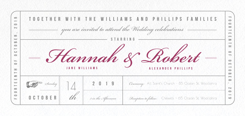 Movie Theatre, Movie Ticket Invitation - Wedding Invitations
