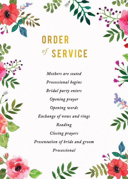 Flos Paradisi - Order of Service
