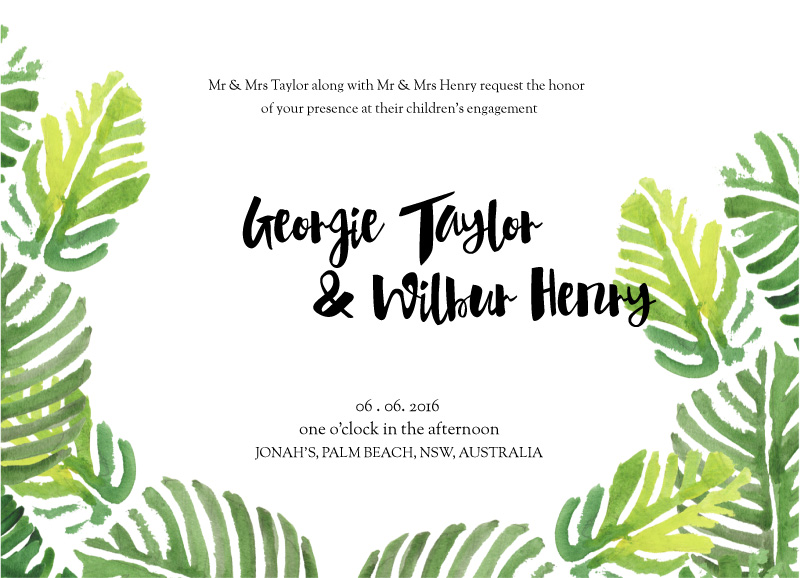 Palmy - Engagement Invitations