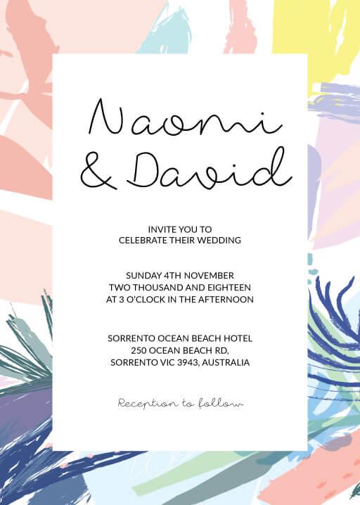 Tropical Pastel Wedding Invitations - wedding invitations