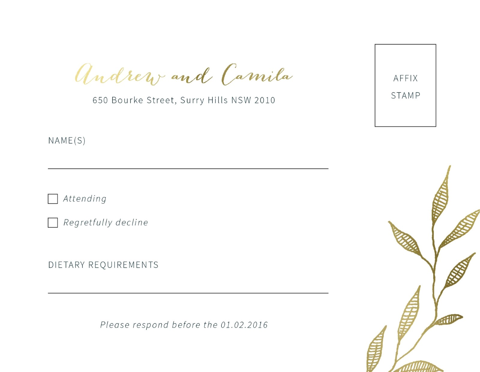 Leaves - RSVP Cards