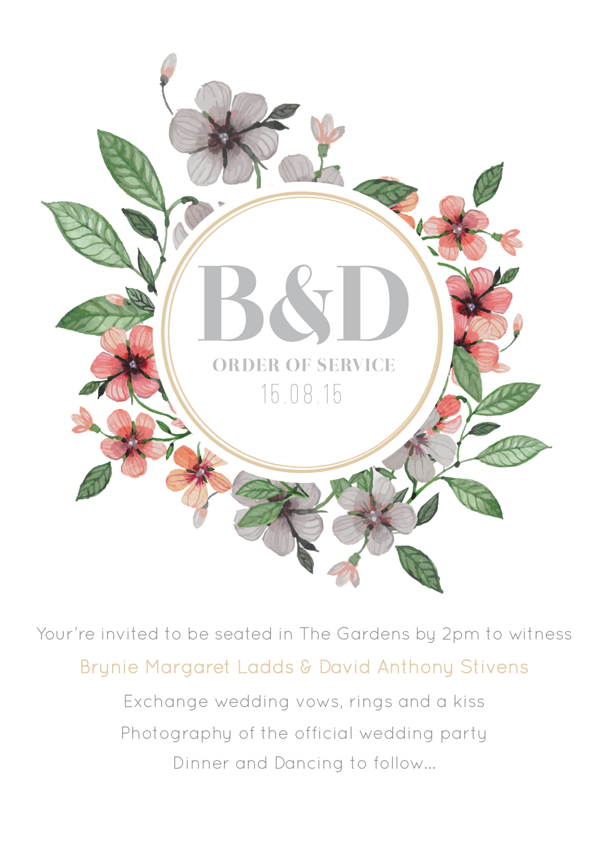 Floral Circle Invitation Set - Order of Services