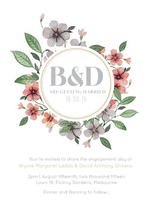 Floral Circle Invitation Set - engagement invitations