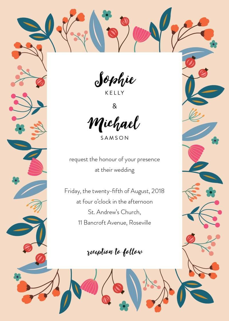 Native flowers - Wedding Invitations