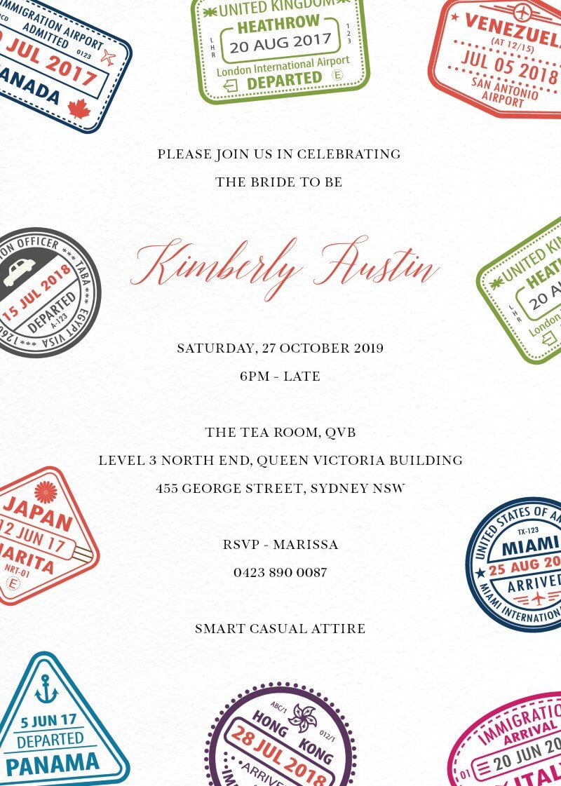 Stamp of the Journey - Bridal Shower Invitations