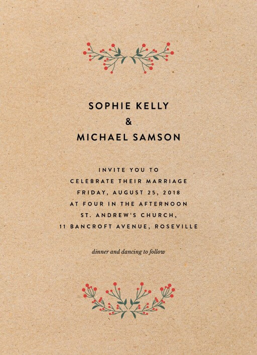 Berry lovely wedding - wedding invitations