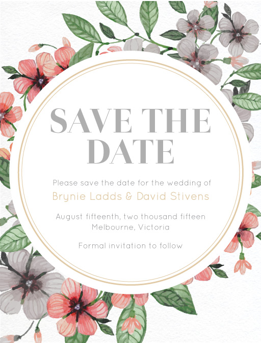 Floral Circle Invitation Set - Save The Date