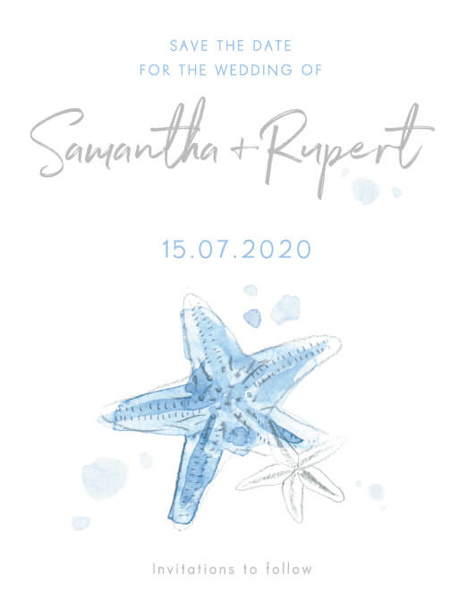 Watercolour Starfish - Save The Date