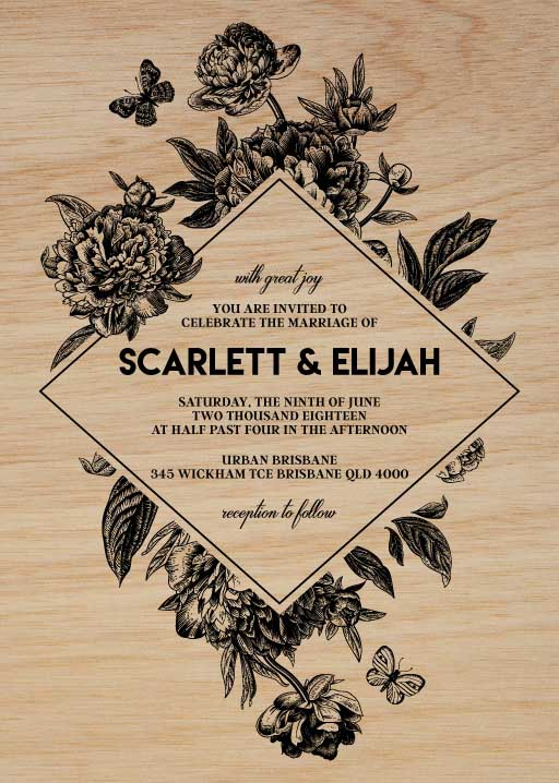 Rustic Peony Wedding Invitations - wedding invitations