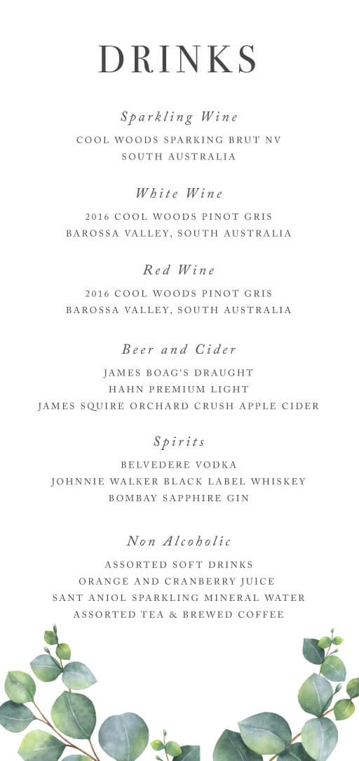 Eucalyptus - Wedding Menu