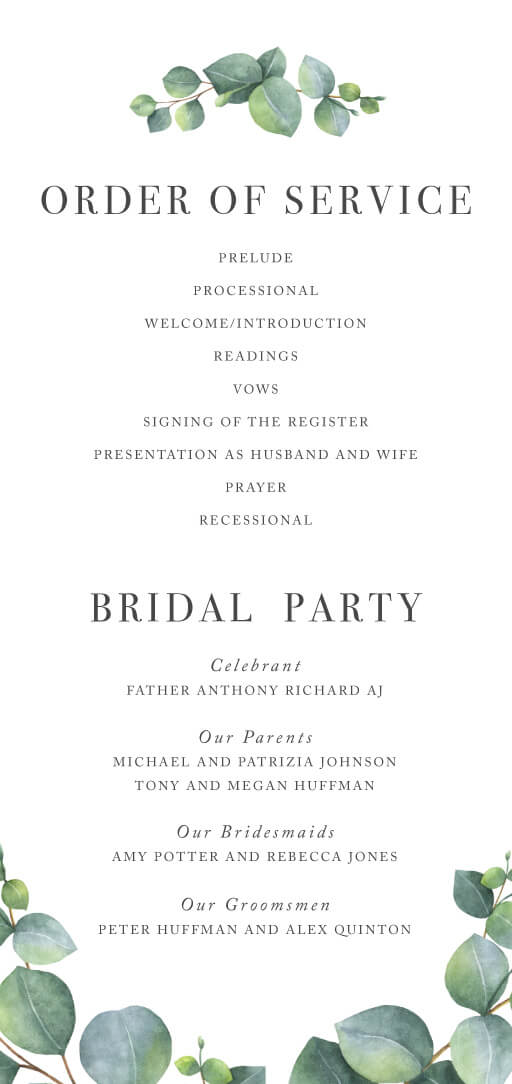 Eucalyptus - Wedding Programs
