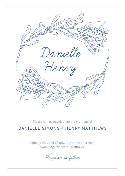 Playful Proteas Wedding Invitations - wedding invitations