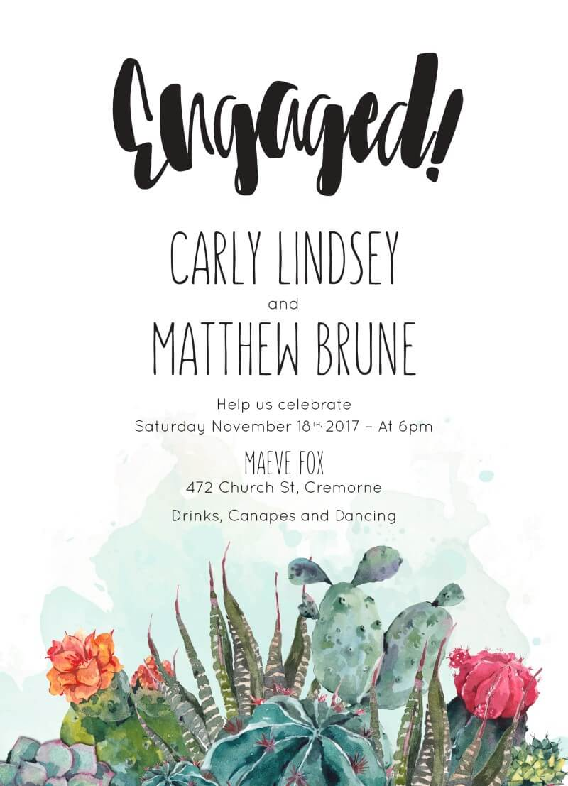 Cactus Hour - Engagement Invitations