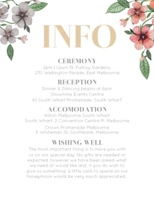 Floral Circle Invitation Set - Information Cards