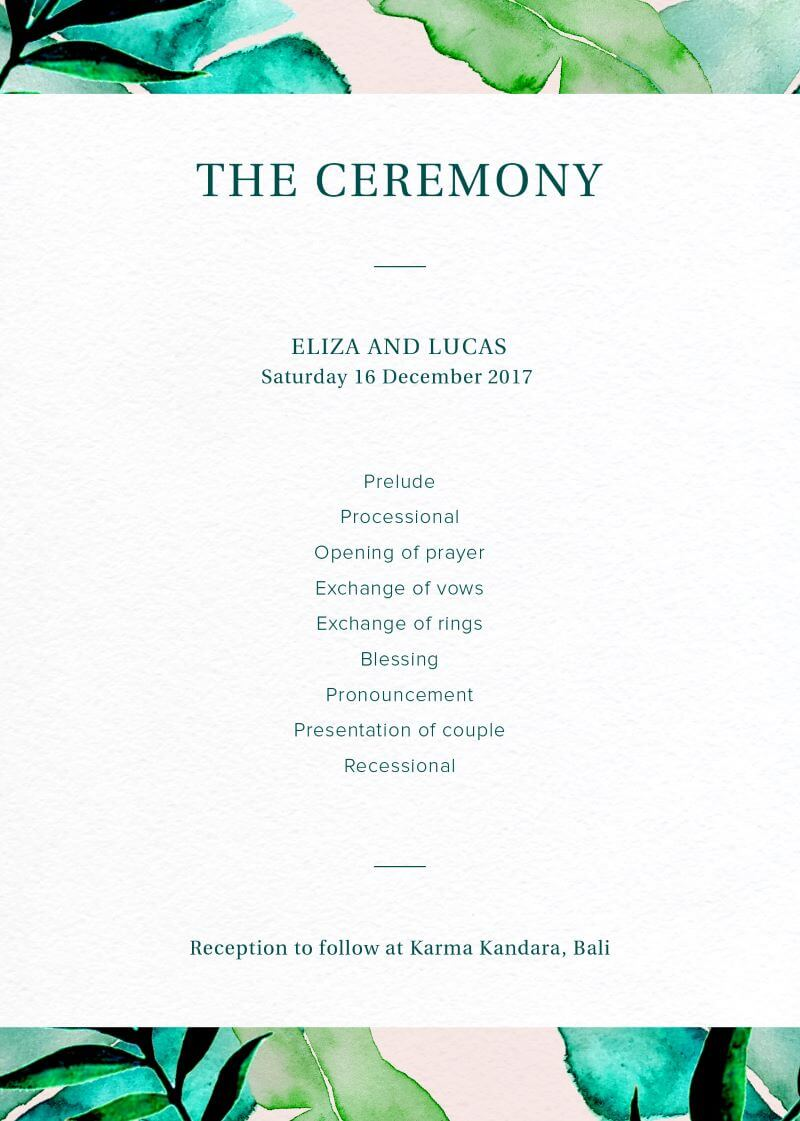 Kandara - Wedding Programs