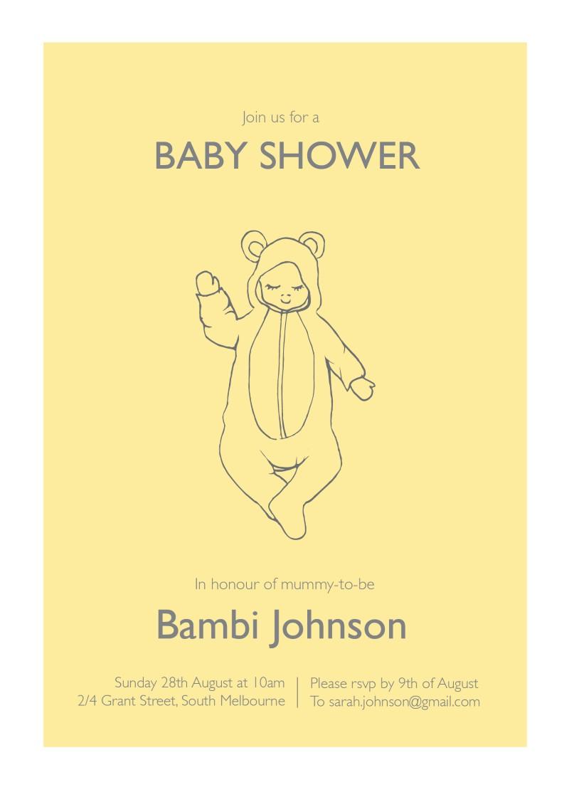 Little Bear Onesie - Baby Shower Invitations