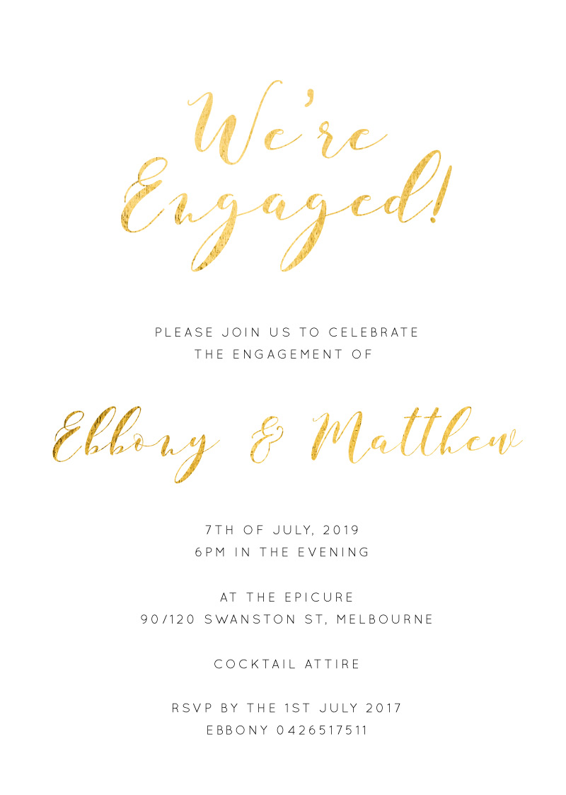 Calligraphy - Engagement Invitations