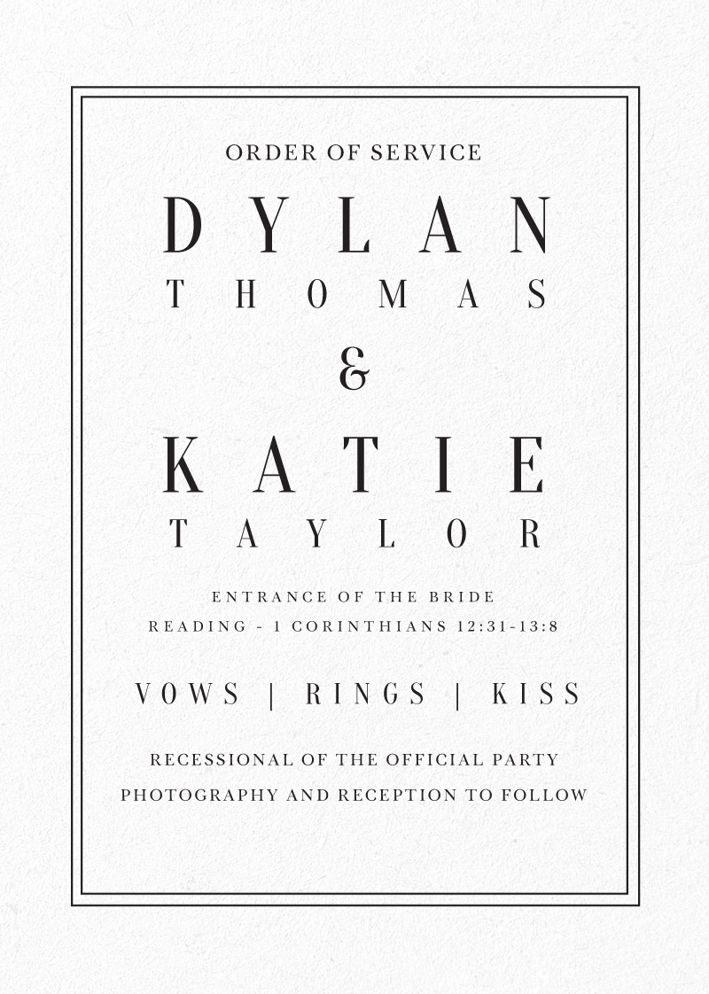 Classic Design - Order of Services