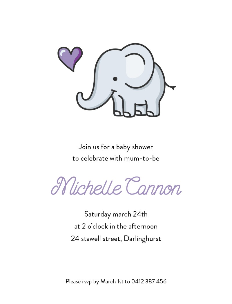 Baby Elephant Walk - Baby Shower Invitations