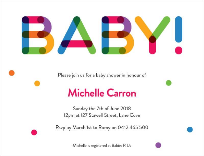 Coloured Block - Baby Shower Invitations