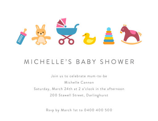 Toy surprise - baby shower invitations