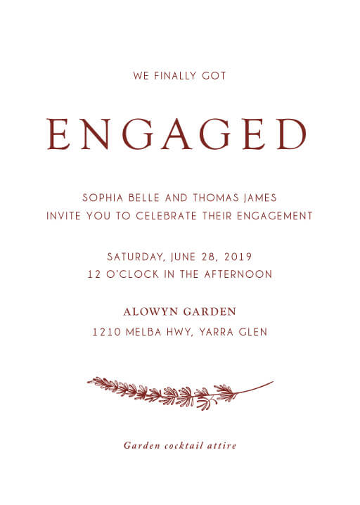 Winter Fire - engagement invitations