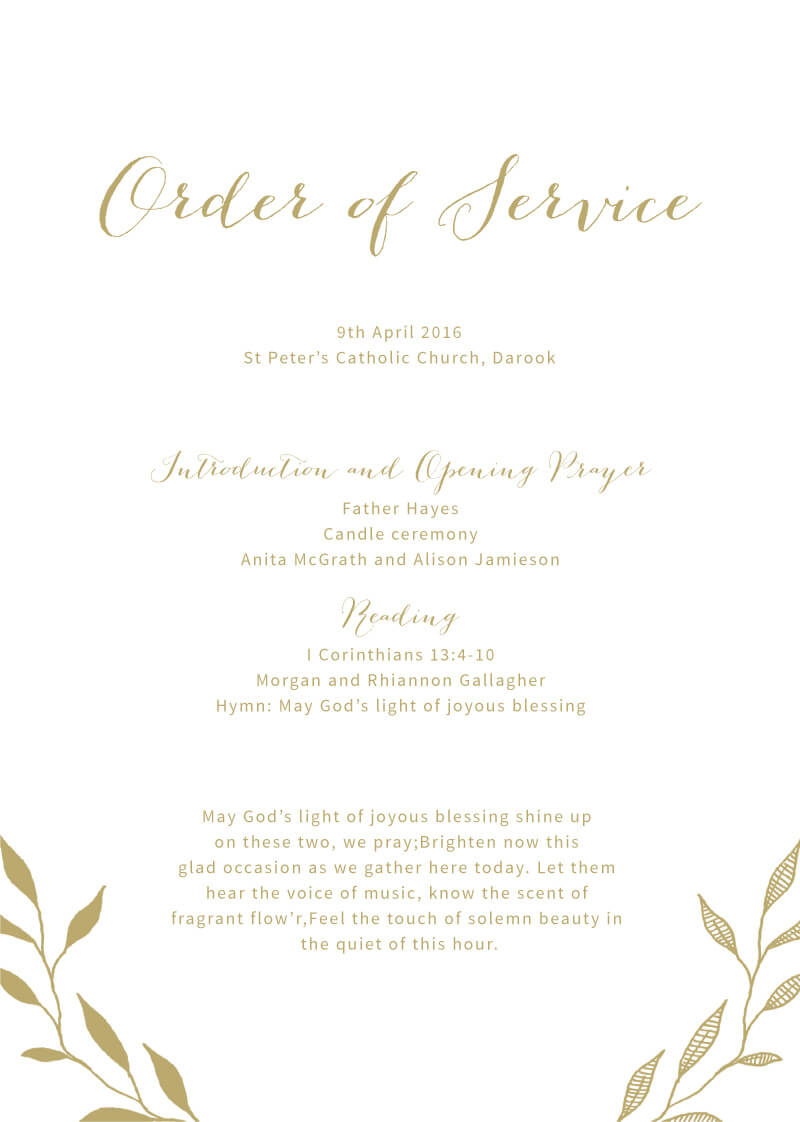 Leaves - Order Of Service