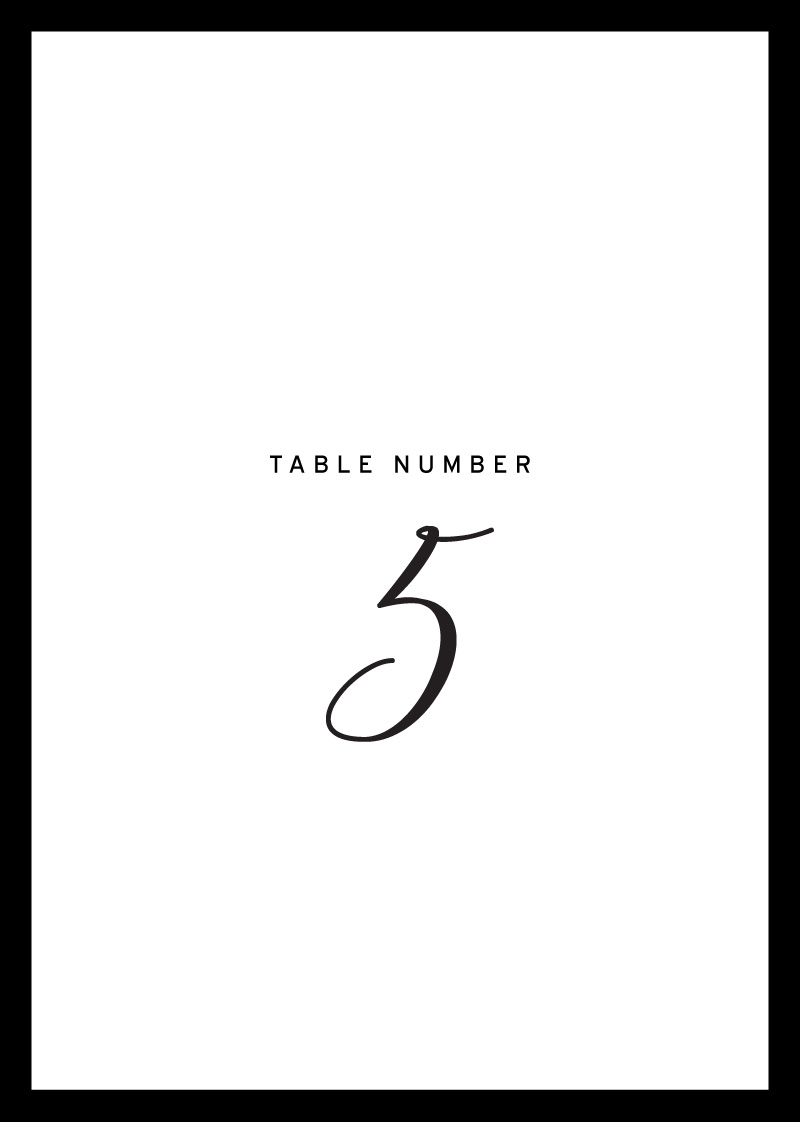 Sleek border - Table Numbers
